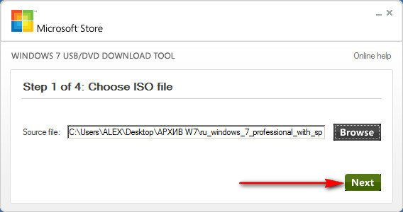 Создание загрузочной с помощью Windows 7 USB/DVD Download Tool