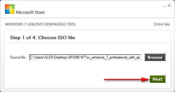 Создание загрузочной с помощью Windows 7 USB/DVD Download Tool